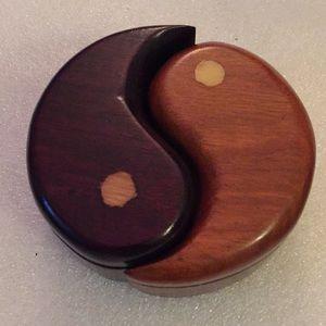 Vintage oak ying yang jewelry box